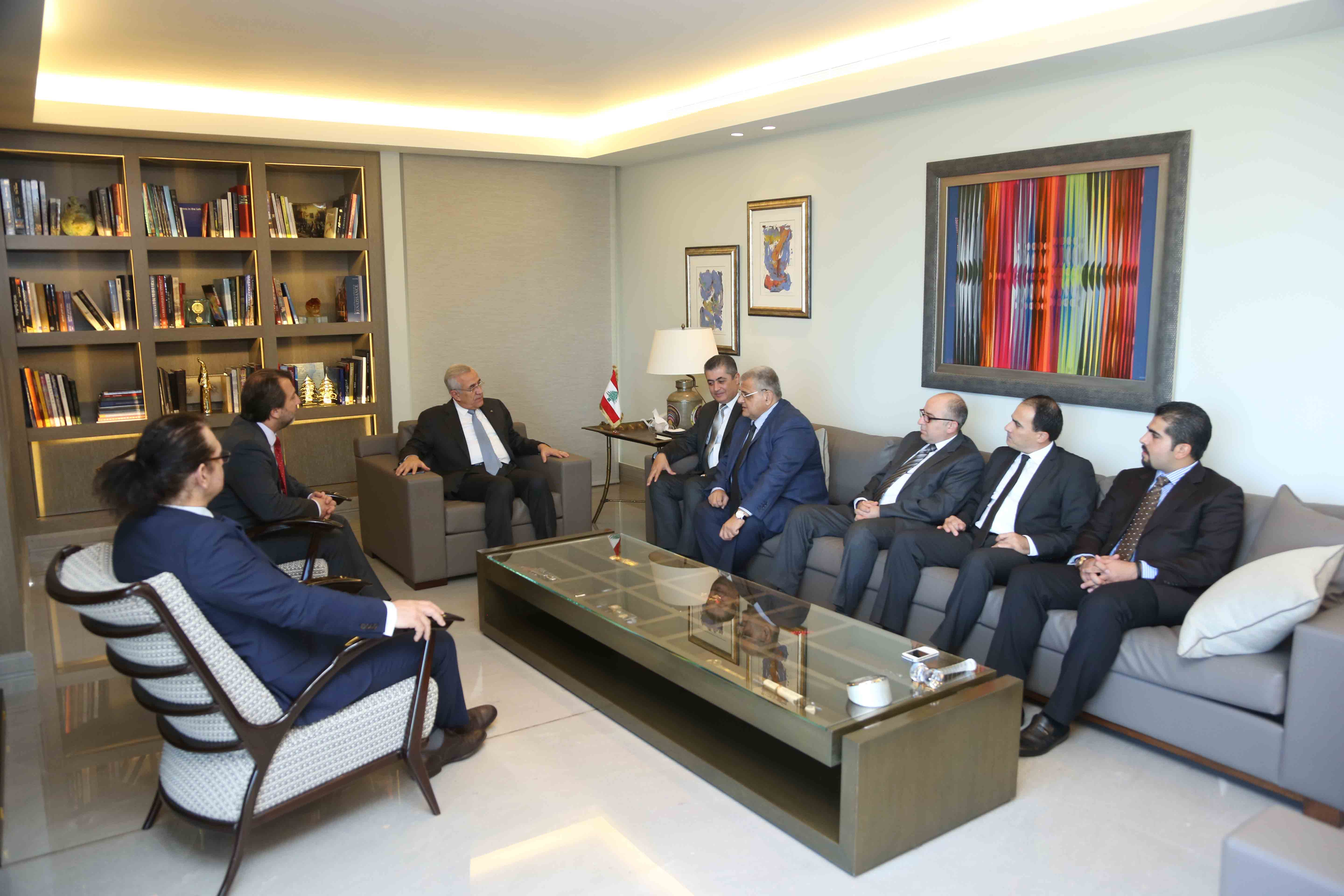 Former President Michel Sleiman Meets MP Khaled Zahraman with a Delegation